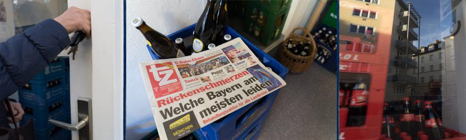 Die Getränkehändlerin sperrt die Türe auf, holt die Zeitung aus dem Briefkasten