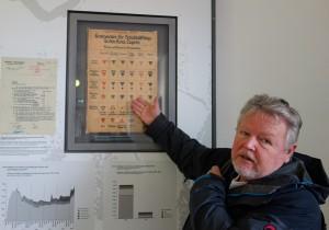 Josef Pröll zeigt auf eine Tafel, die die verschiedenen Farbkennzeichnungen für unterschiedliche Häftlingsgruppen im Konzentrationslager Dachau zeigt.