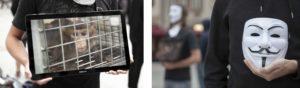 Tierrechtsaktivist präsentiert das anonyme Leid eines Laboraffen auf einem Monitor