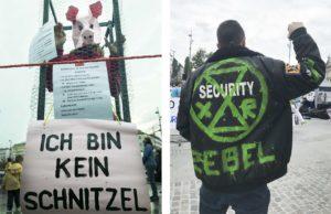 Tierrechtsaktivist von Animal Rebellion mit Schweinemaske und Aktivist von Extinction Rebellion
