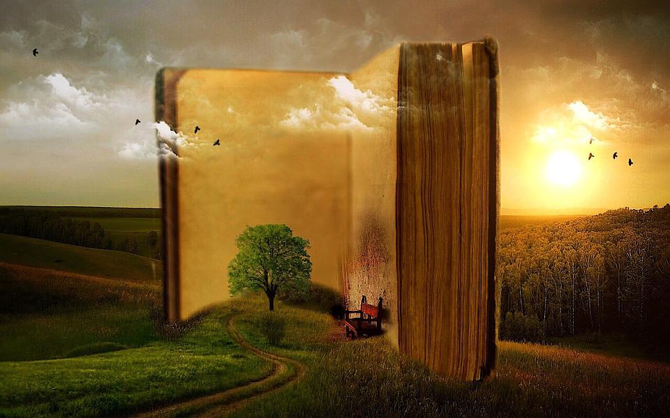 Das Bild zeigt ein aufgeschlagenes Bild vor einer idyllischen Landschaft im fantasy Stil. Bildunterschrift: Lesen eröffnet Horizonte.
