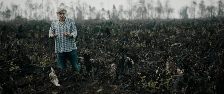 """Der Filmregisseur von """"Die gruene Luege"""" mitten im verbrannten Regenwald Foto: ea-Film_Dominik_Spritzendorfer"""