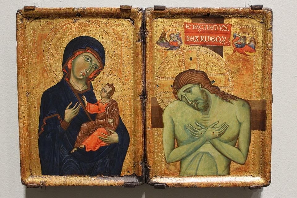 Bild zeigt zewei Ikonen. Bildunterschrift: Ikonen - Fenster zur Ewigkeit.