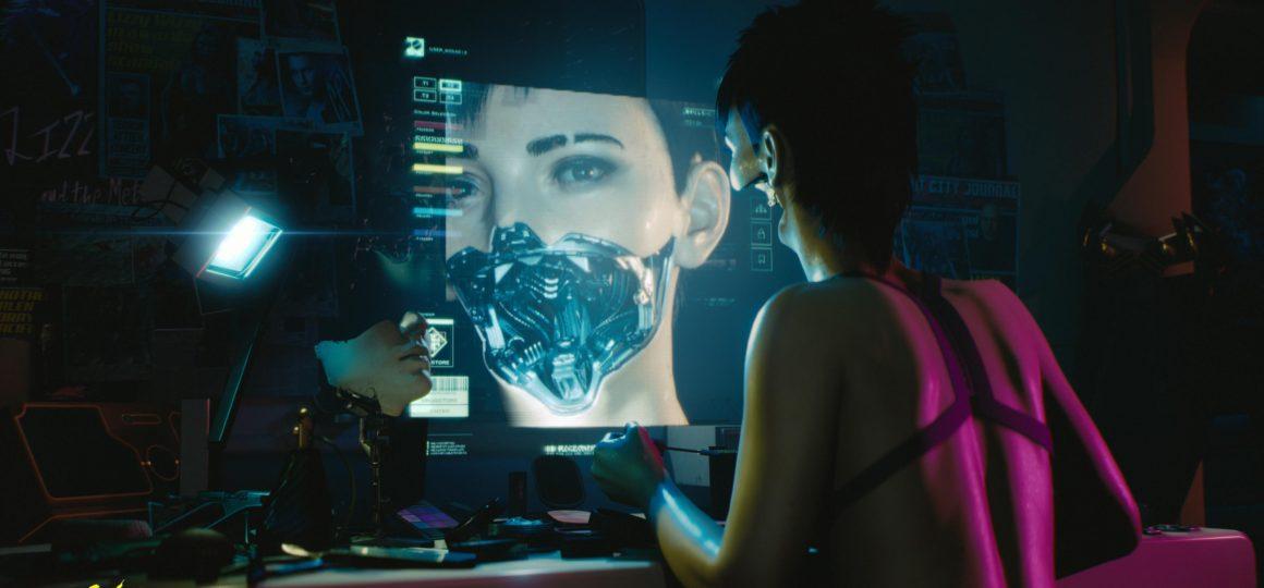 Cyberpunk 2077 Frau vor Monitor