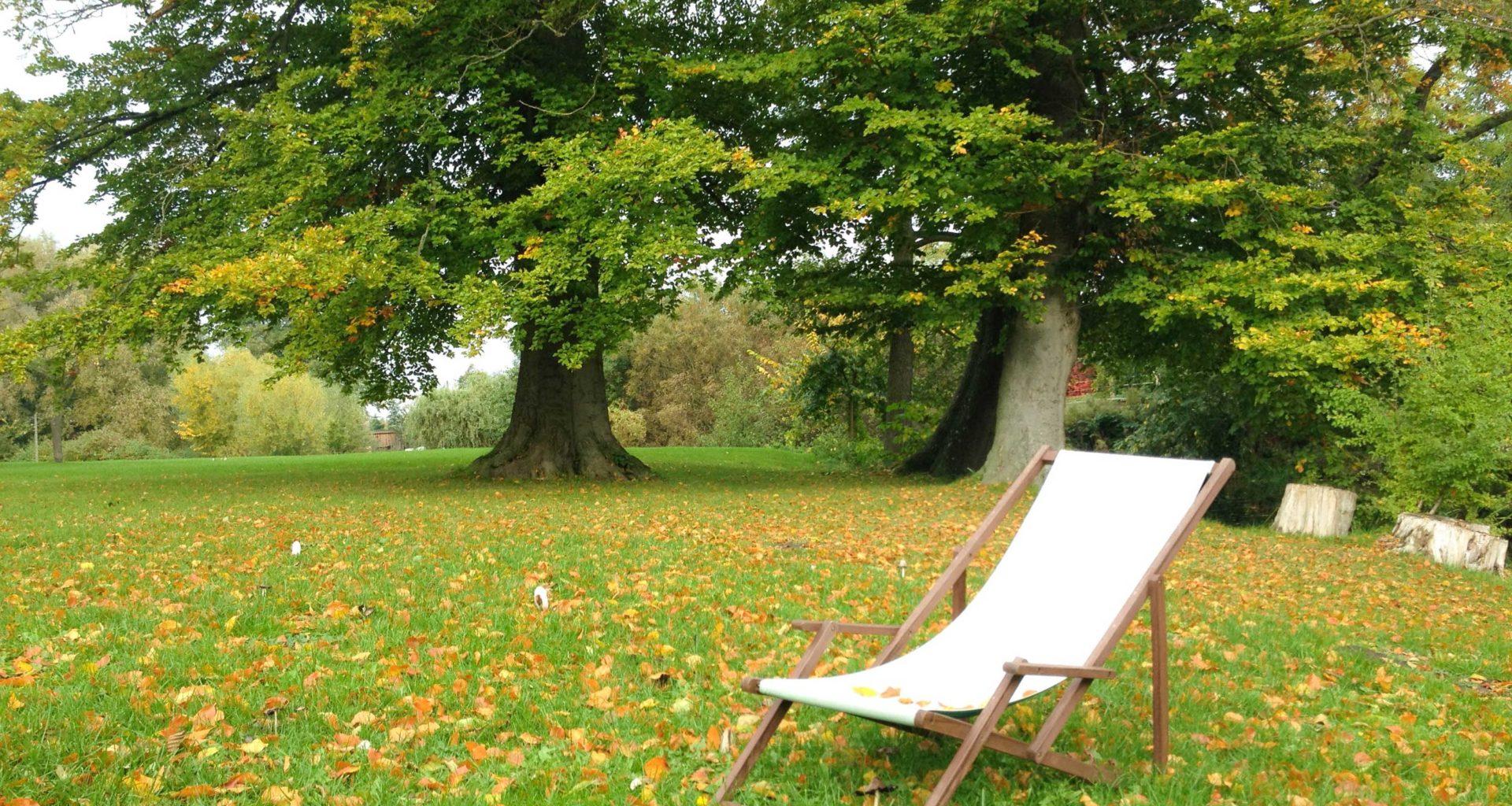 Leerer Liegestuhl in herbstlichem Park