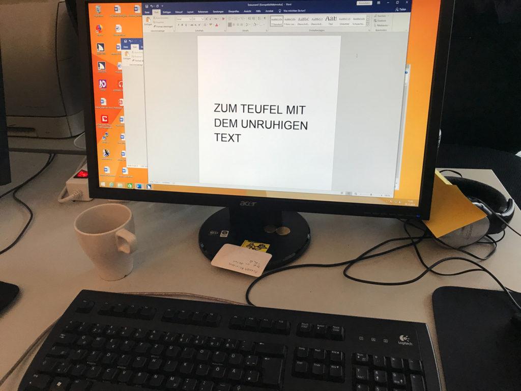 Bildschirmtext Zur Hölle mit dem unruhigen Text