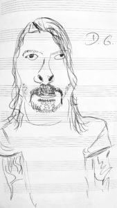 Skizziertes Porträt von Dave Grohl, dem Leadsänger der Foo Fighters.
