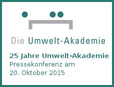 """Logo zur Pressekonferenz """"25 Jahre Umwelt-Akademie"""" am 20.10.2015 in München"""