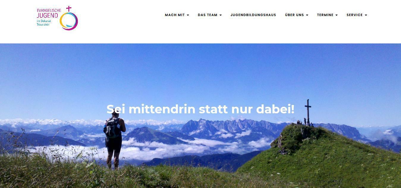 Die Startseite der Website der Evangelischen Dekanatsjugend Traunsteind