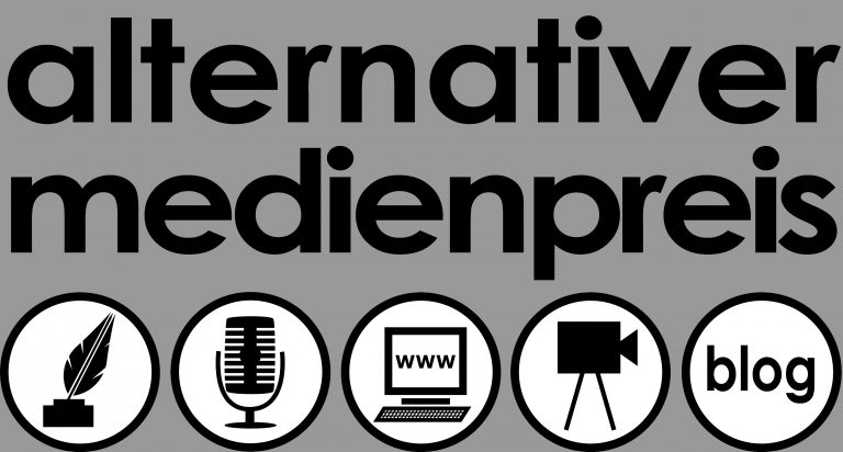 Das Logo des Alternativen Medienpreises.