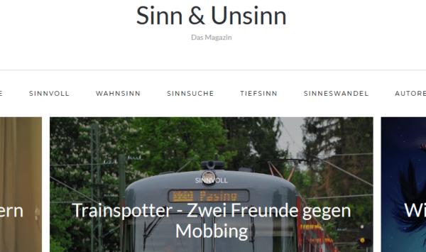 Die Startseite des Magazins Sinn & Unsinn mit dem Beitrag 'Trainspotter - Zwei Freunde gegen Mobbing'